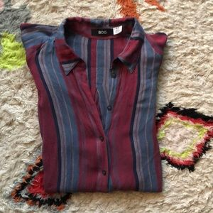 Short Sleeved Striped Button down